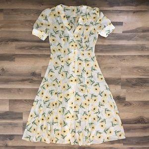 Vintage Sheer Floral Dress 🌼